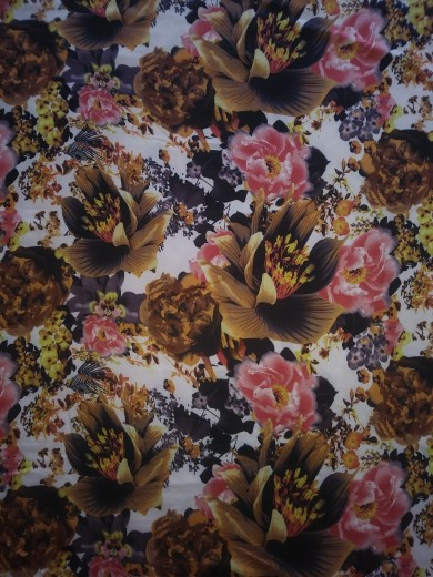 90e77c47b89 Fall Leaves and Florals on White Double Brushed Poly Lycra Jersey