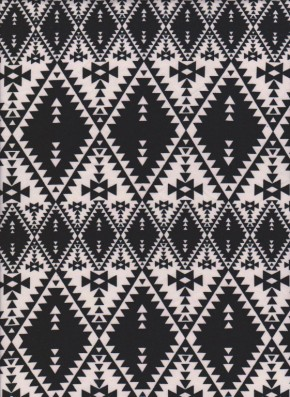 Aztec Print ( Black+Ivory) on Double Brushed Poly Lycra Jersey