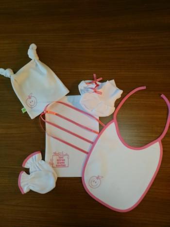 Apple ( Pink ) NewBorn Baby Girl  Set- 5 Pcs Set