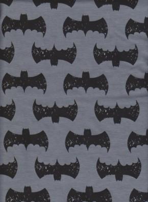 Batman on Charcoal Cotton Lycra Jersey