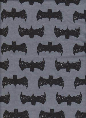 Batman on Charcoal Cotton Lycra Jersey