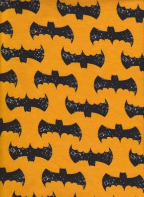BAT GRUNGE on Yellow Cotton Lycra Jersey