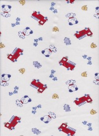 Baby Dog and Firetruck on White Cotton Interlock