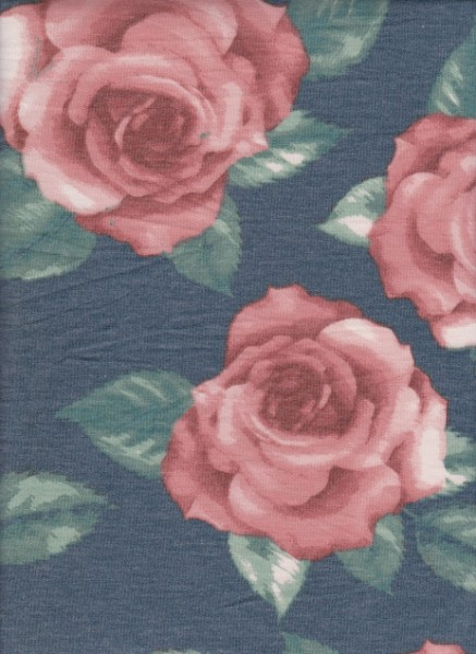 Big Roses on Denim Rayon Poly Lycra French Terry