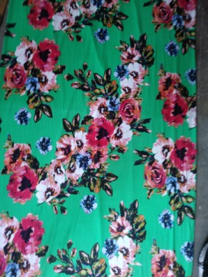 Big Florals on Green Double Brushed Poly Lycra Jersey