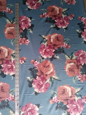 Big Florals on Green Double Brushed French Terry