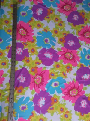 Big Florals on White Nylon Lycra Swimwear Fabric