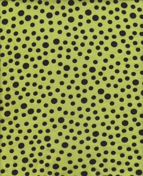 Black Polka Dots on Lime Cotton Lycra Jersey