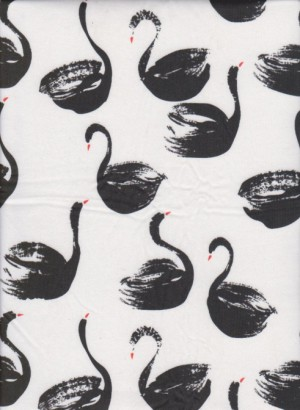 Black Swans on White Double Brushed Poly Lycra Jersey