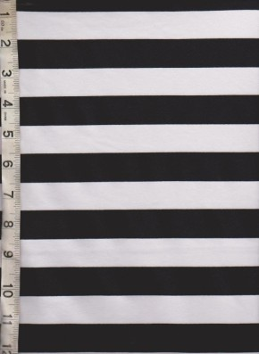 Black and White Stripe on Cotton Lycra Jersey