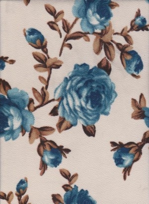Blue Florals on Cream Liverpool