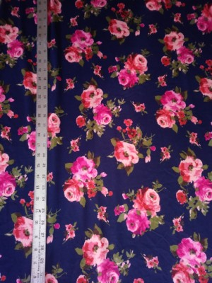 Bright Flowers on navy Double Brushed Poly Lycra