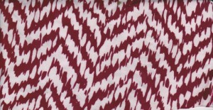 Chevron Burgundy  and White on Rayon Poly Lycra Jersey