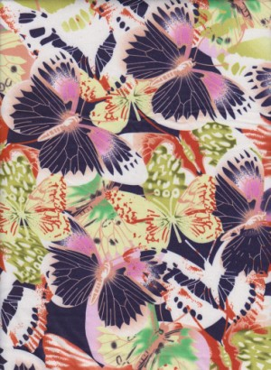 Butterflies on Double Brushed Poly Lycra Jersey