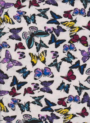 Butterflies on White Double Brushed Poly Lycra Jersey