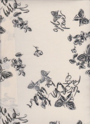 Butterfly Girl Power on Ivory Crepe