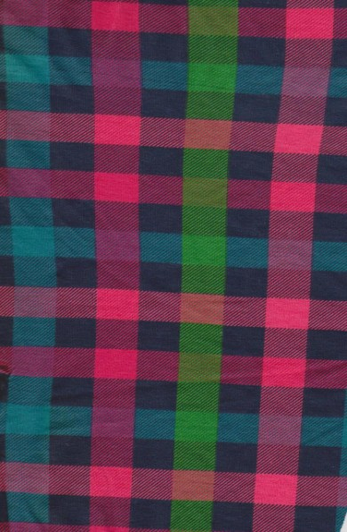 Checker- Red green Fuchsia on Cotton Lycra French Terry