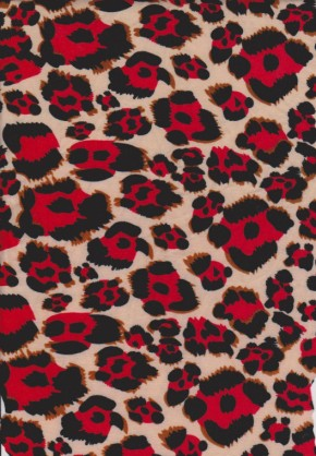 Cheetah ( Red and Black) Double Brushed Poly Lycra Jersey