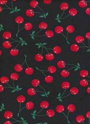 Cherries on Black Double Brushed Poly Lycra Jersey
