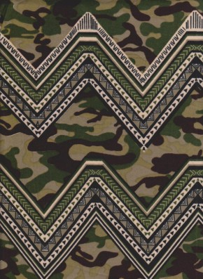 Chevron Camo on Double Brushed Poly Lycra Jersey