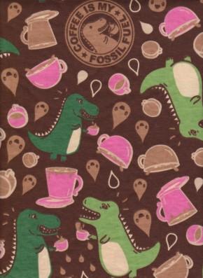Coffee Fossil on Borwn Cotton Jersey