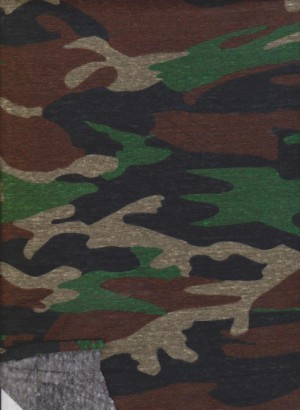 Camouflage on Cotton Poly Lycra Jersey