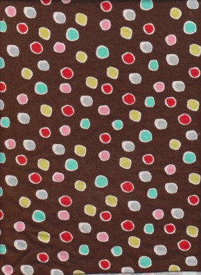 Candy Dots on Brown Cotton Lycra Jersey