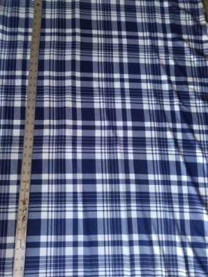Checker- Blue and White - on Double Brushed Poly Lycra