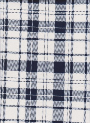 Checker on Navy and White Double Brushed Poly Lycra Jersey