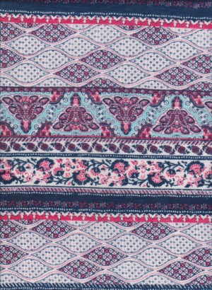 Chevron Paisley and Dots on Rayon Lycra Jersey