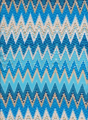 Chevron Turquoise on Double Brushed Poly Lycra Jersey