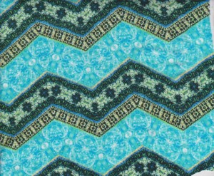 Chevron Turquoise Geo on Double Brushed Poly Lycra
