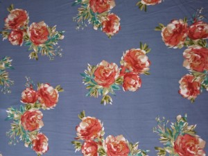 Coral Florals on Blue Double Brushed Poly Lycra