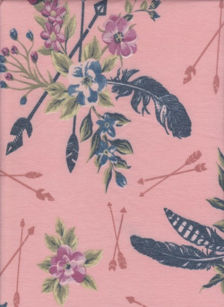 Florals and Arrows on Coral  Rayon Poly Lycra French Terry