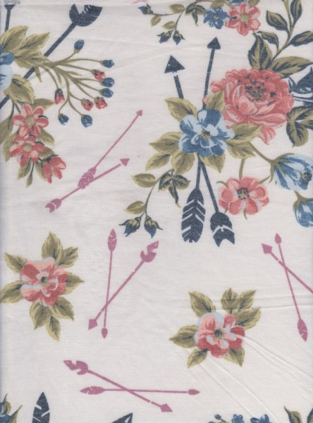 Florals and Arrows on Ivory Double Brushed Poly Lycra Jersey