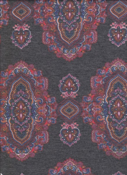 Autentic Print  on Charcoal  Rayon Poly Lycra French Terry