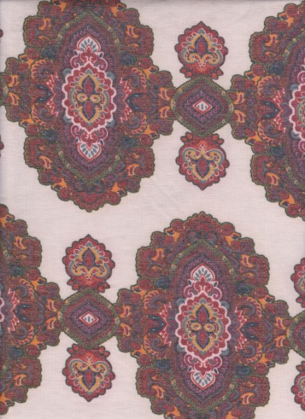Autentic Print  on Ivory Rayon Poly Lycra French Terry