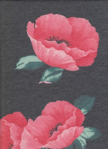 Big Fuchsia Floral on Charcoal Rayon Poly Lycra French Terry
