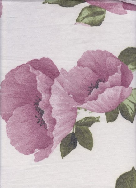 Big Lilac Floral on Ivory Rayon Poly Lycra French Terry