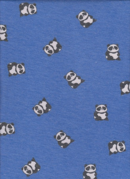 Panda on Blue Rayon Poly Lycra French Terry