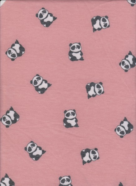 Panda on Coral  Rayon Poly Lycra French Terry