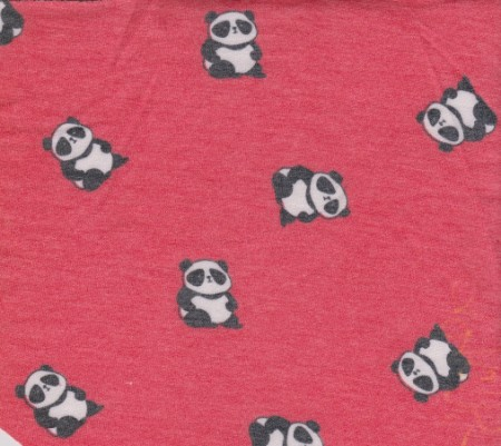 Panda on Hot Pink  Rayon Poly Lycra French Terry