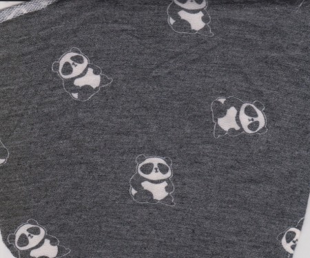 Panda on Charcoal Rayon Poly Lycra French Terry