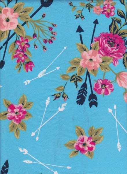 Florals and Arrows on Blue Double Brushed Poly Lycra Jersey