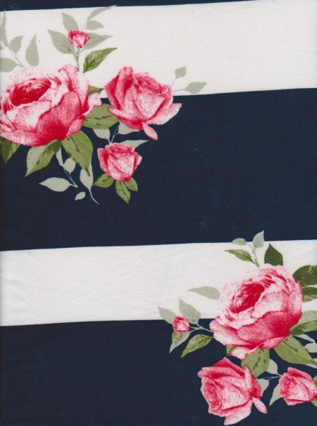 Roses with Navy Stripe on Double Brushed Poly Lycra