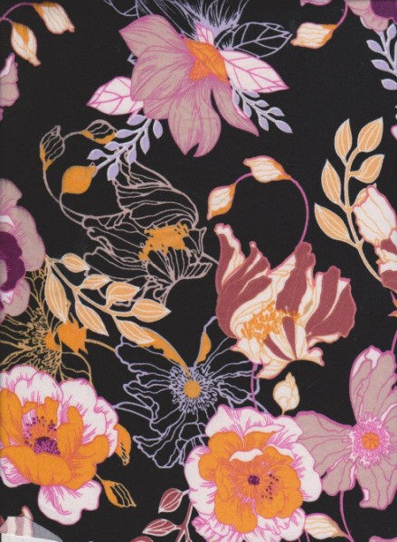Trendy Florals on Black Double Brushed Poly Lycra Jersey