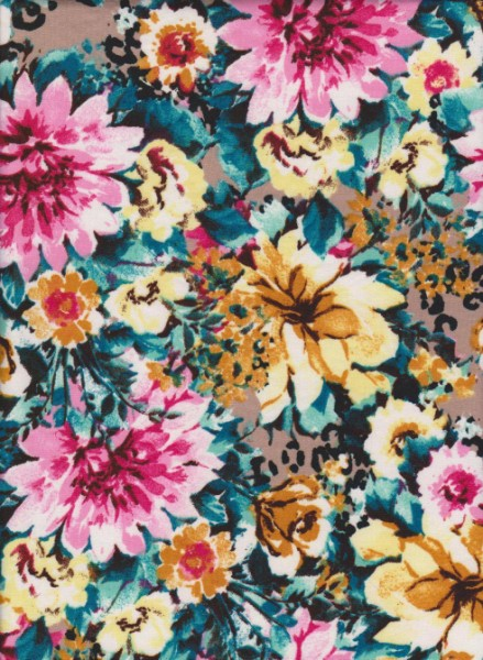 Busy Cute Flowers on Double Brushed Poly Lycra