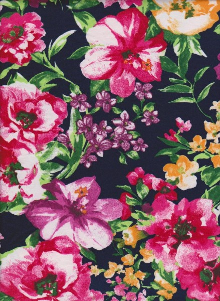 Busy Cute Flowers on  Navy Double Brushed Poly Lycra