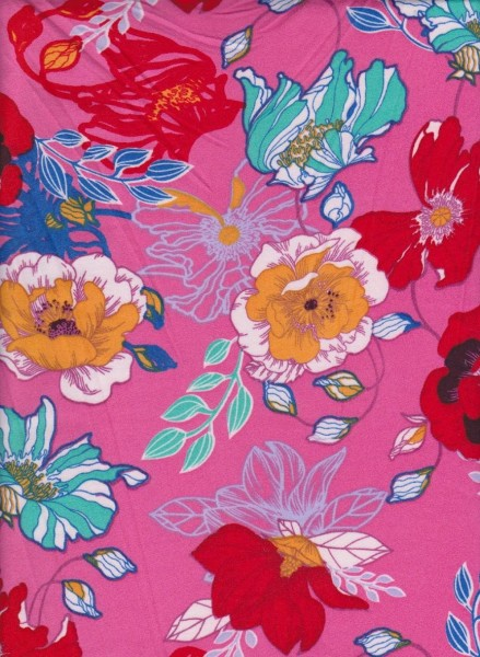 Trendy Florals on Fuchsia  Double Brushed Poly Lycra Jersey