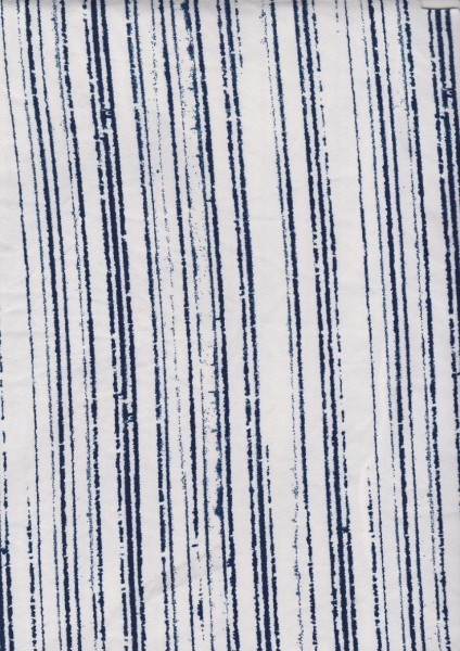 Uneven Navy Vertical Stripes on Double Brushed Poly Lycra Jersey